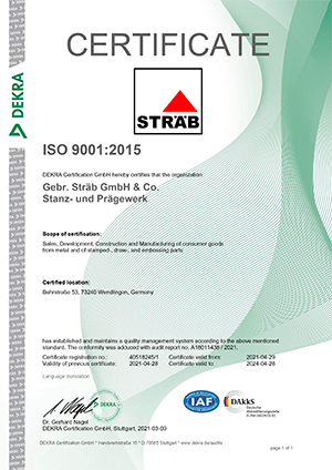Certificate-RZ-ISO-9001 Sträb GmbH, Germany