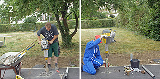 Dig hole or drive in pilot hole pipe