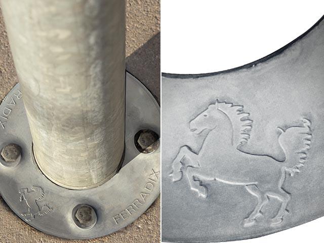The heraldic animal of the state capital Suttgart on the FERRADIX orifice plate