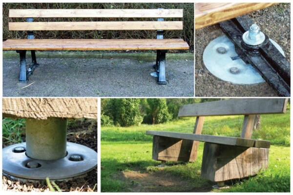 Park benches with ground anchors