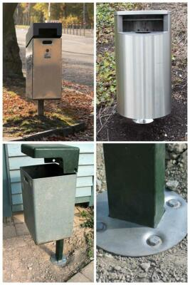 Garbage cans and paper baskets with ground anchor